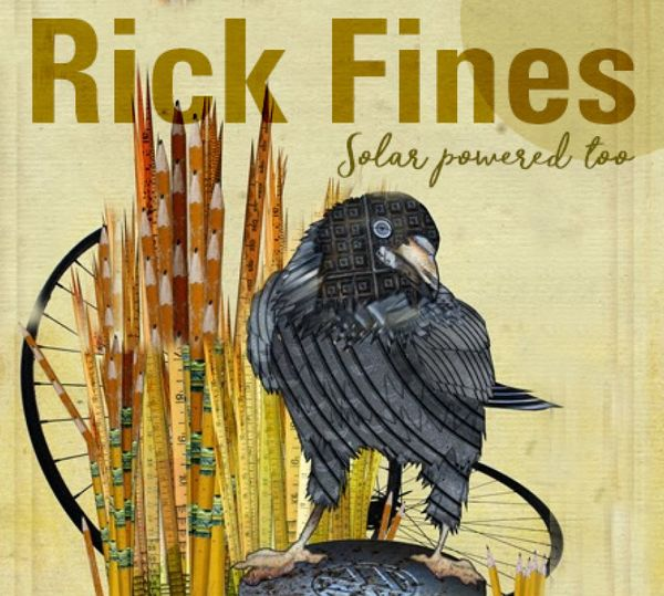 Album cover for Rick Fines' Solar Powered Too. The image is a crown in the reeds, but the image is made from other materials such as pencils , bicycle wheels and what looks like rubber tires and computer parts.